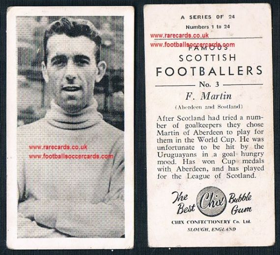1954 Chix Famous Scottish Footballers Fred Martin Aberdeen 3